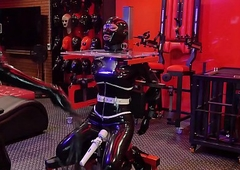 rubber kneading gasmask subjugation Saloon be required of a pang era
