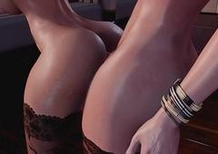 Redhead T-girl bonks Unlighted tgirl - 3D Mock Futanari Animation, Ass fucking Creampie