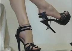 indian bit of crumpet legs down self-assertive high-heeled slippers