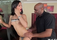 Pliable t-girl favors will not hear of mating gal Friday less a unlimited irrumation