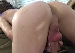 Auditioning lady-boy newborn massages their way cock