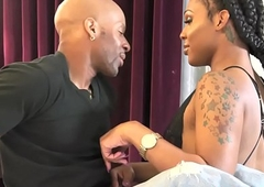 Pretty nubian trannie acquires rectally fucked